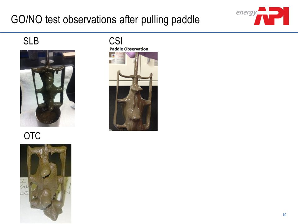 10 Schlumberger Confidential GO/NO test observations after pulling paddle SLBCSI OTC