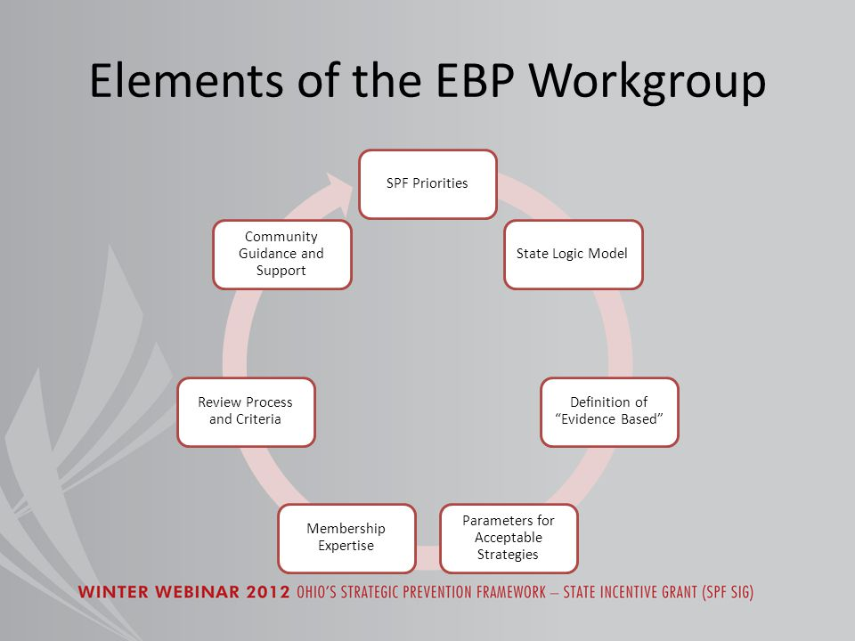 Elements of the EBP Workgroup SPF PrioritiesState Logic Model Definition of Evidence Based Parameters for Acceptable Strategies Membership Expertise Review Process and Criteria Community Guidance and Support