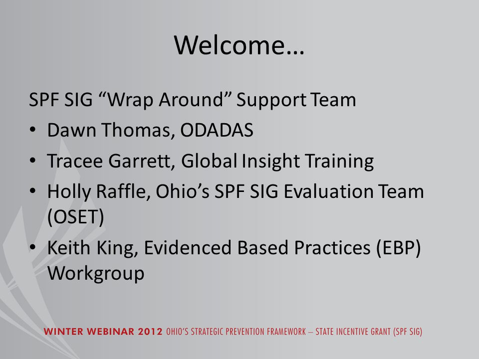 Welcome… SPF SIG Wrap Around Support Team Dawn Thomas, ODADAS Tracee Garrett, Global Insight Training Holly Raffle, Ohio's SPF SIG Evaluation Team (OSET) Keith King, Evidenced Based Practices (EBP) Workgroup