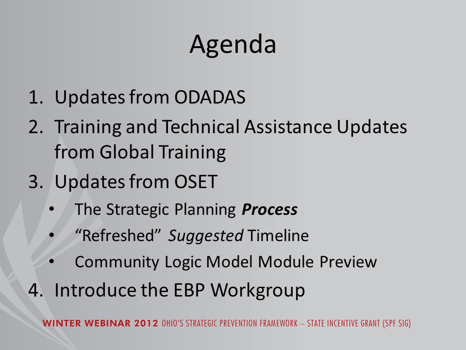 Updates from ODADAS RCH/CEUs Modifications of priority substance, target population, and sub-target/underserved population – based on needs assessment data Coalition Branding vs.