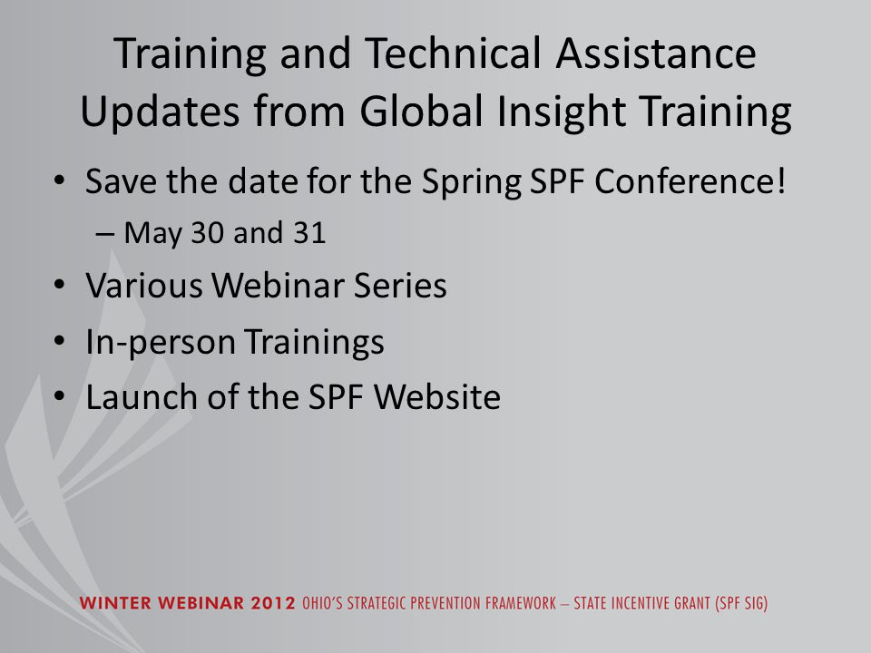 Training and Technical Assistance Updates from Global Insight Training Save the date for the Spring SPF Conference.