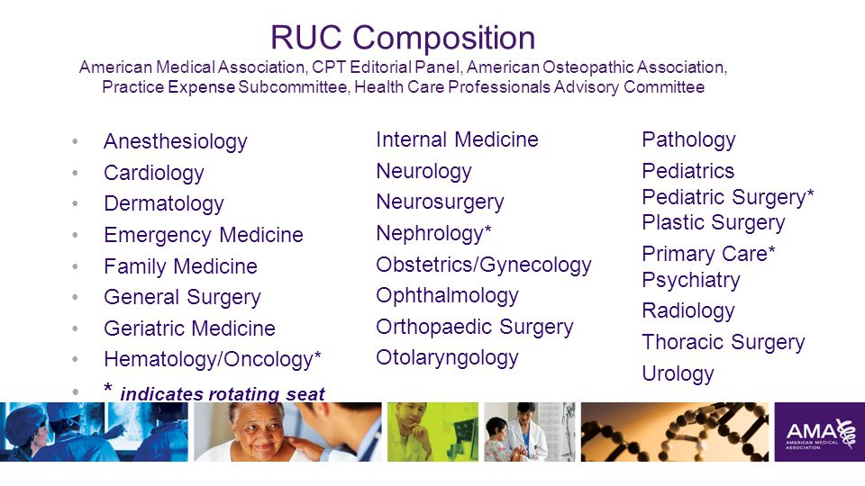 RUC Composition American Medical Association, CPT Editorial Panel, American Osteopathic Association, Practice Expense Subcommittee, Health Care Professionals Advisory Committee Anesthesiology Cardiology Dermatology Emergency Medicine Family Medicine General Surgery Geriatric Medicine Hematology/Oncology* * indicates rotating seat 13 Internal Medicine Neurology Neurosurgery Nephrology* Obstetrics/Gynecology Ophthalmology Orthopaedic Surgery Otolaryngology Pathology Pediatrics Pediatric Surgery* Plastic Surgery Primary Care* Psychiatry Radiology Thoracic Surgery Urology