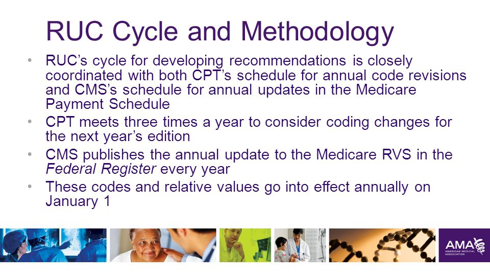 RUC Cycle and Methodology RUC's cycle for developing recommendations is closely coordinated with both CPT's schedule for annual code revisions and CMS's schedule for annual updates in the Medicare Payment Schedule CPT meets three times a year to consider coding changes for the next year's edition CMS publishes the annual update to the Medicare RVS in the Federal Register every year These codes and relative values go into effect annually on January 1 14