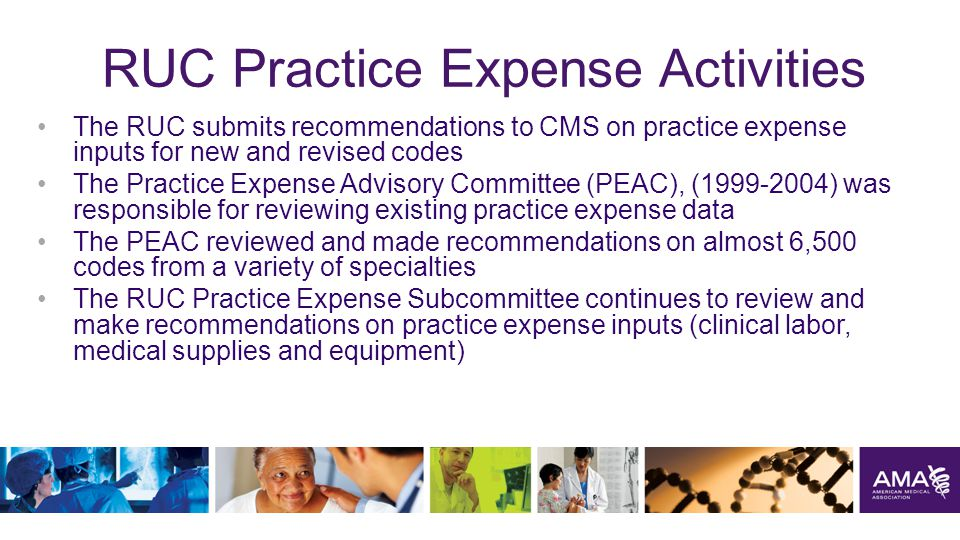 RUC Practice Expense Activities The RUC submits recommendations to CMS on practice expense inputs for new and revised codes The Practice Expense Advisory Committee (PEAC), (1999-2004) was responsible for reviewing existing practice expense data The PEAC reviewed and made recommendations on almost 6,500 codes from a variety of specialties The RUC Practice Expense Subcommittee continues to review and make recommendations on practice expense inputs (clinical labor, medical supplies and equipment) 24