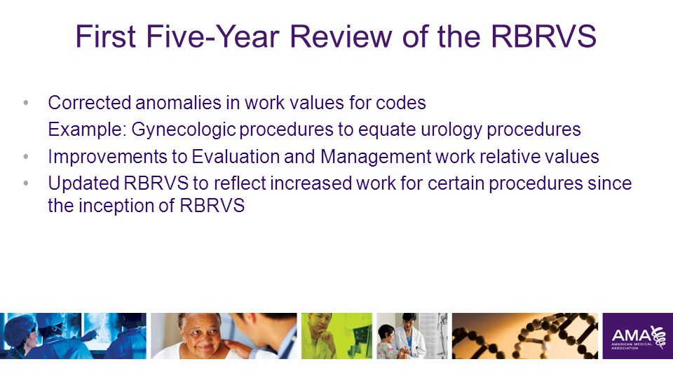 First Five-Year Review of the RBRVS Corrected anomalies in work values for codes Example: Gynecologic procedures to equate urology procedures Improvements to Evaluation and Management work relative values Updated RBRVS to reflect increased work for certain procedures since the inception of RBRVS 28