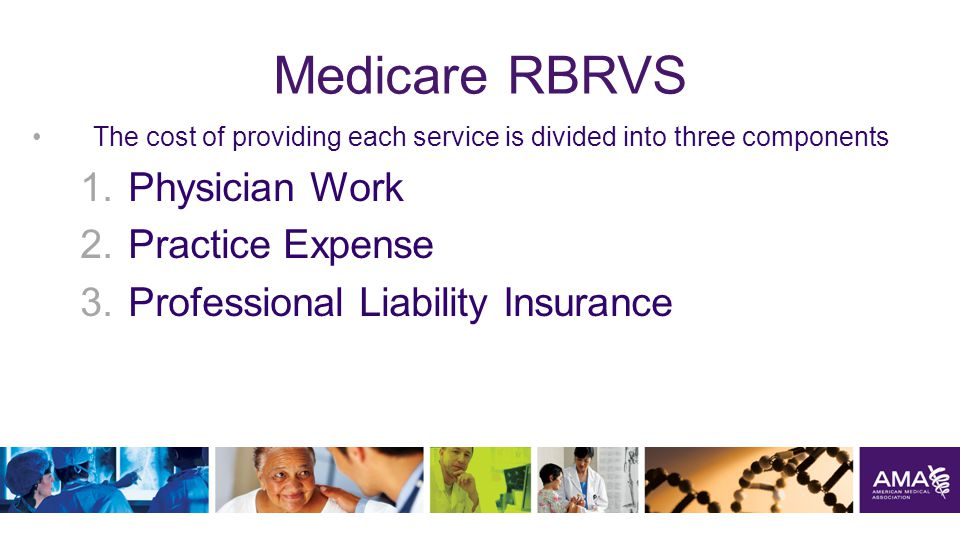 Medicare RBRVS The cost of providing each service is divided into three components 1.Physician Work 2.Practice Expense 3.Professional Liability Insurance 3