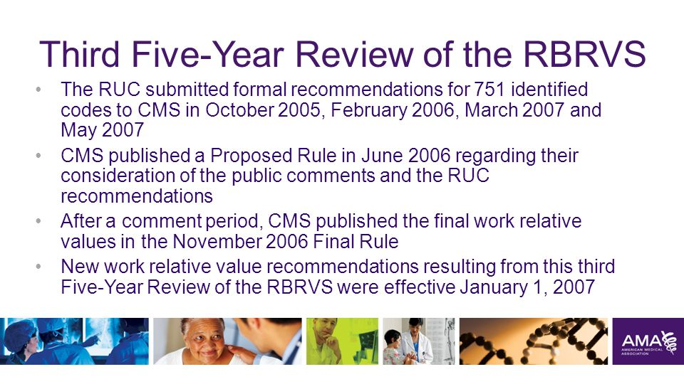 Third Five-Year Review of the RBRVS The RUC submitted formal recommendations for 751 identified codes to CMS in October 2005, February 2006, March 2007 and May 2007 CMS published a Proposed Rule in June 2006 regarding their consideration of the public comments and the RUC recommendations After a comment period, CMS published the final work relative values in the November 2006 Final Rule New work relative value recommendations resulting from this third Five-Year Review of the RBRVS were effective January 1, 2007 32