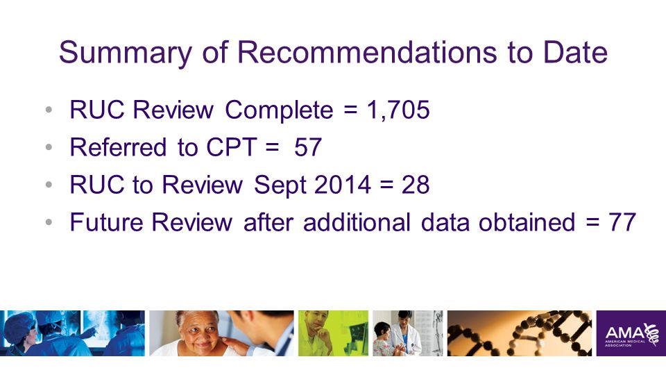 Summary of Recommendations to Date RUC Review Complete = 1,705 Referred to CPT = 57 RUC to Review Sept 2014 = 28 Future Review after additional data obtained = 77 45
