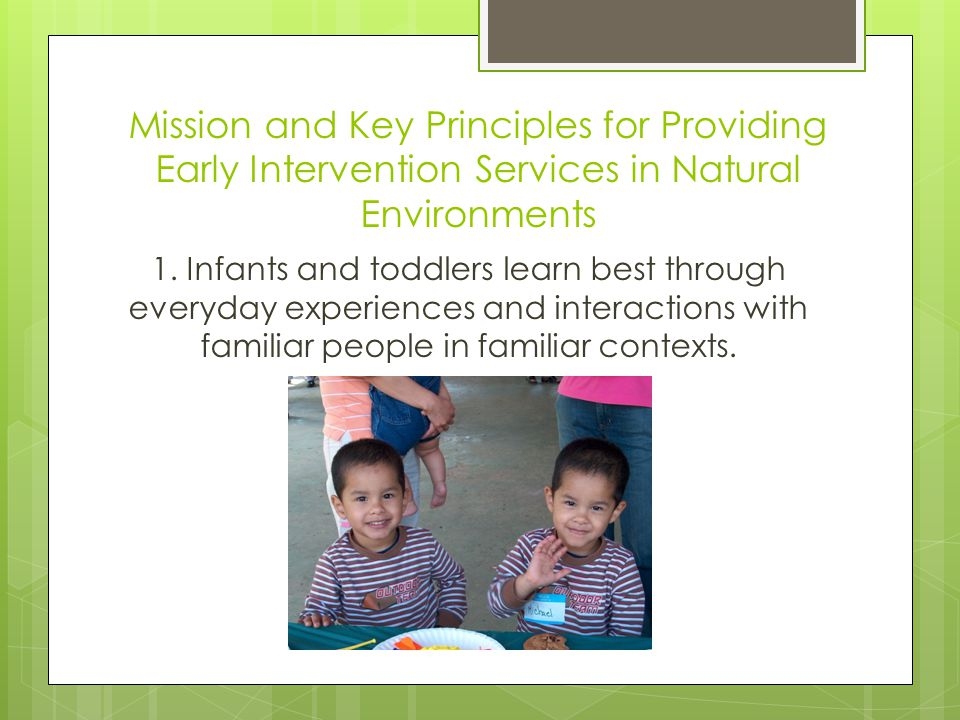Mission and Key Principles for Providing Early Intervention Services in Natural Environments 1.
