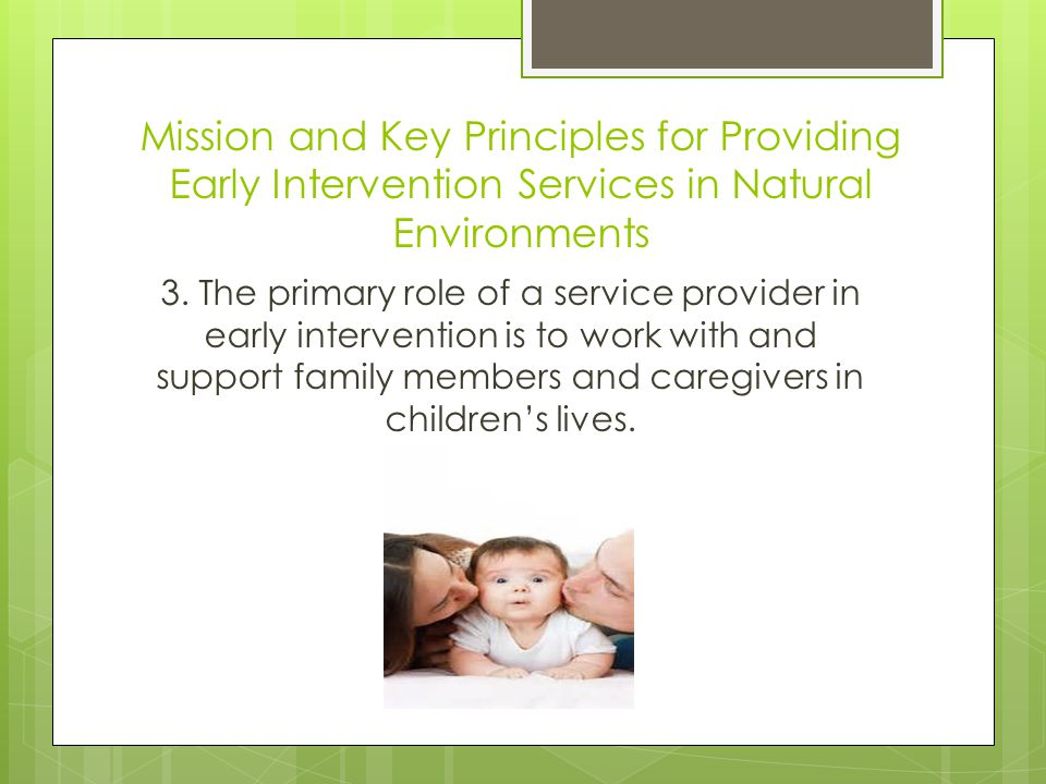 Mission and Key Principles for Providing Early Intervention Services in Natural Environments 3.