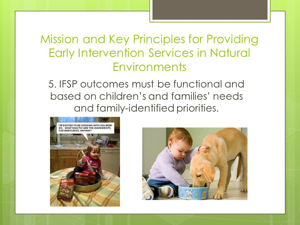 Mission and Key Principles for Providing Early Intervention Services in Natural Environments 5.