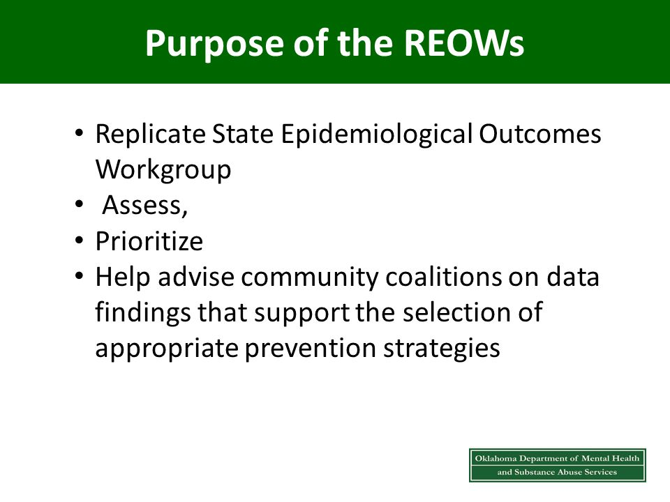 Purpose of the REOWs Replicate State Epidemiological Outcomes Workgroup Assess, Prioritize Help advise community coalitions on data findings that support the selection of appropriate prevention strategies