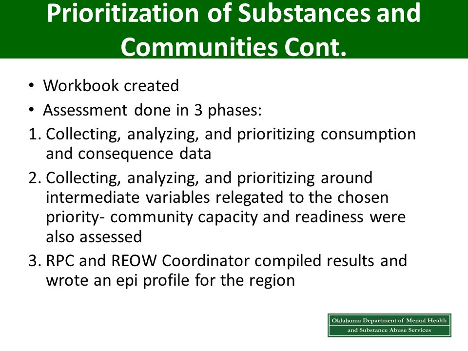 Prioritization of Substances and Communities Cont.