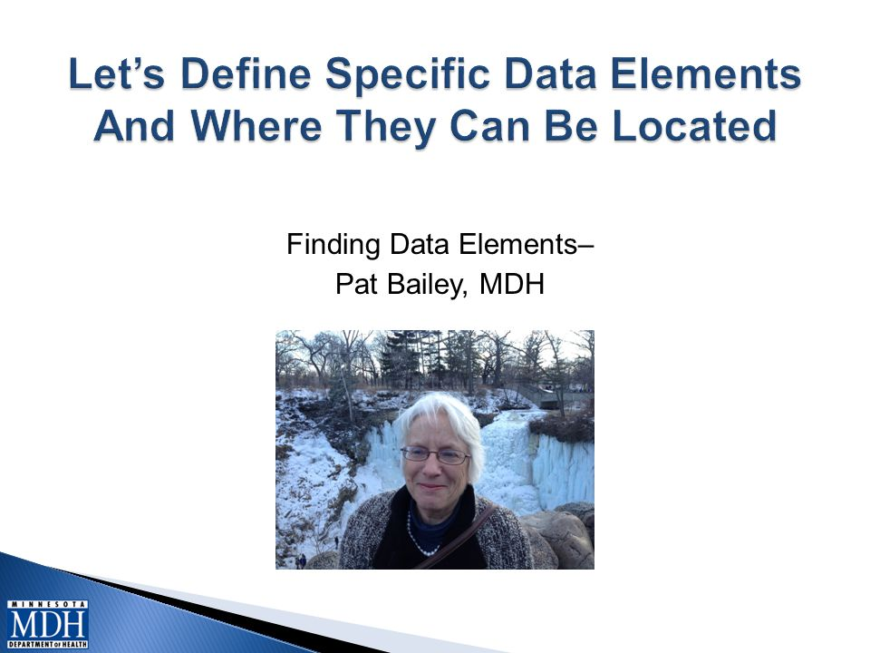 Finding Data Elements– Pat Bailey, MDH Picture here