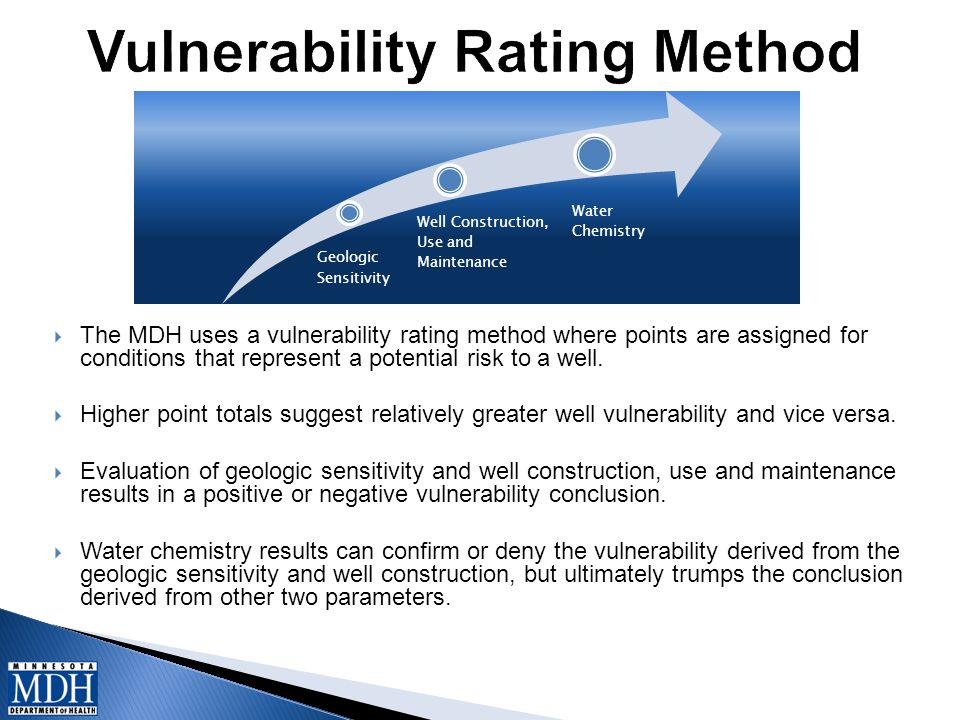  The MDH uses a vulnerability rating method where points are assigned for conditions that represent a potential risk to a well.