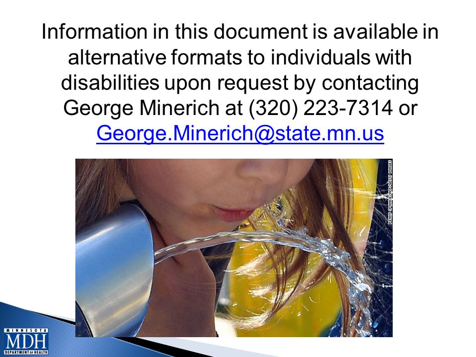 Information in this document is available in alternative formats to individuals with disabilities upon request by contacting George Minerich at (320) 223-7314 or George.Minerich@state.mn.us George.Minerich@state.mn.us