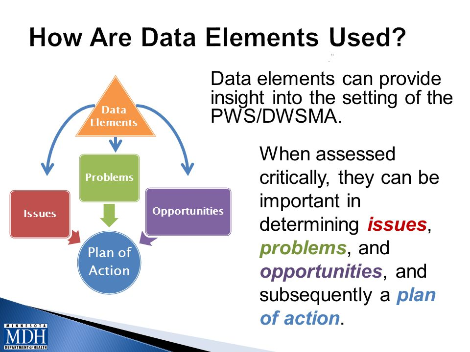 . Data elements can provide insight into the setting of the PWS/DWSMA.