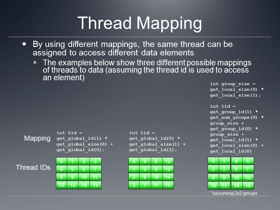 Thread Mapping By using different mappings, the same thread can be assigned to access different data elements The examples below show three different possible mappings of threads to data (assuming the thread id is used to access an element) 0123 4567 891011 12131415 Thread IDs Mapping int tid = get_global_id(1) * get_global_size(0) + get_global_id(0); 04812 15913 261014 371115 int tid = get_global_id(0) * get_global_size(1) + get_global_id(1); 0145 2367 891213 10111415 int group_size = get_local_size(0) * get_local_size(1); int tid = get_group_id(1) * get_num_groups(0) * group_size + get_group_id(0) * group_size + get_local_id(1) * get_local_size(0) + get_local_id(0) *assuming 2x2 groups