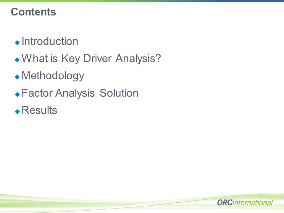 Contents  Introduction  What is Key Driver Analysis.