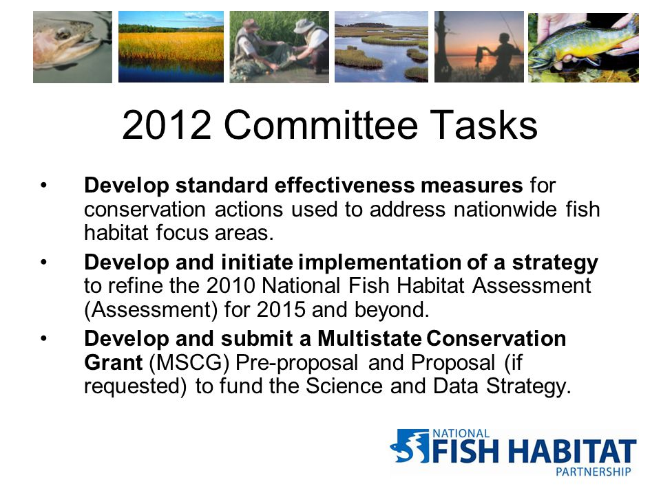 2012 Committee Tasks Develop standard effectiveness measures for conservation actions used to address nationwide fish habitat focus areas. Develop and