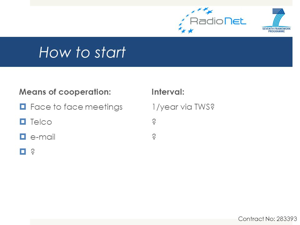How to start Means of cooperation:Interval:  Face to face meetings1/year via TWS.