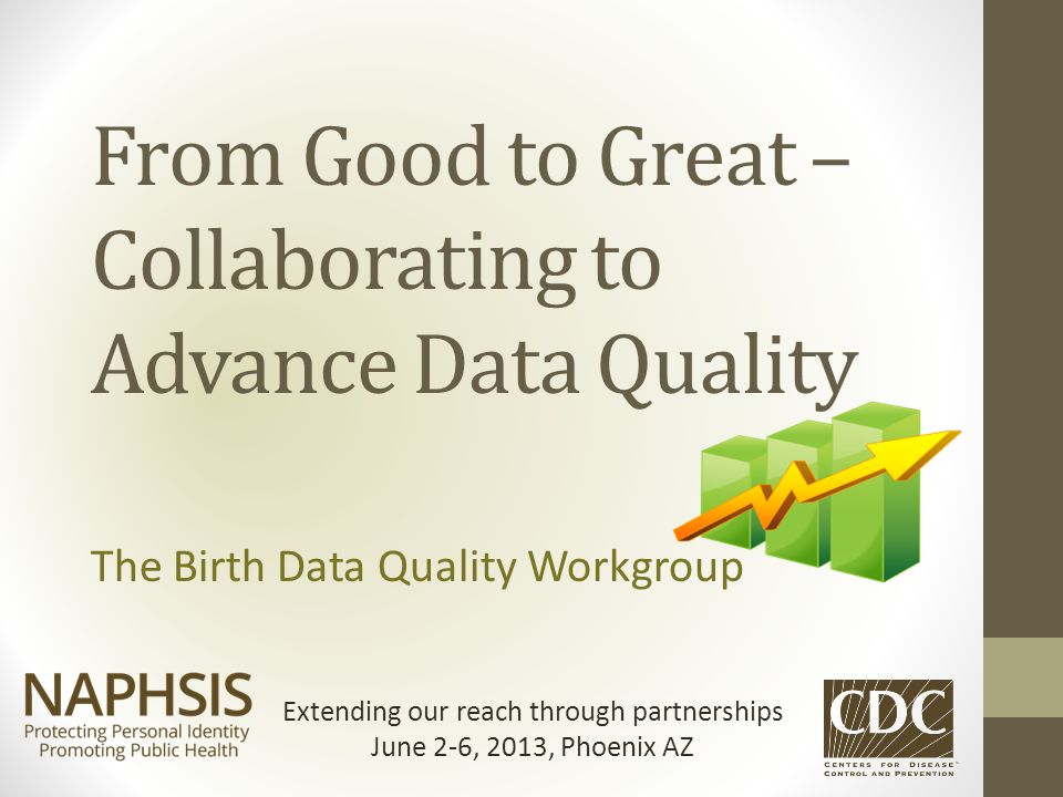 From Good to Great – Collaborating to Advance Data Quality The Birth Data Quality Workgroup Extending our reach through partnerships June 2-6, 2013, P