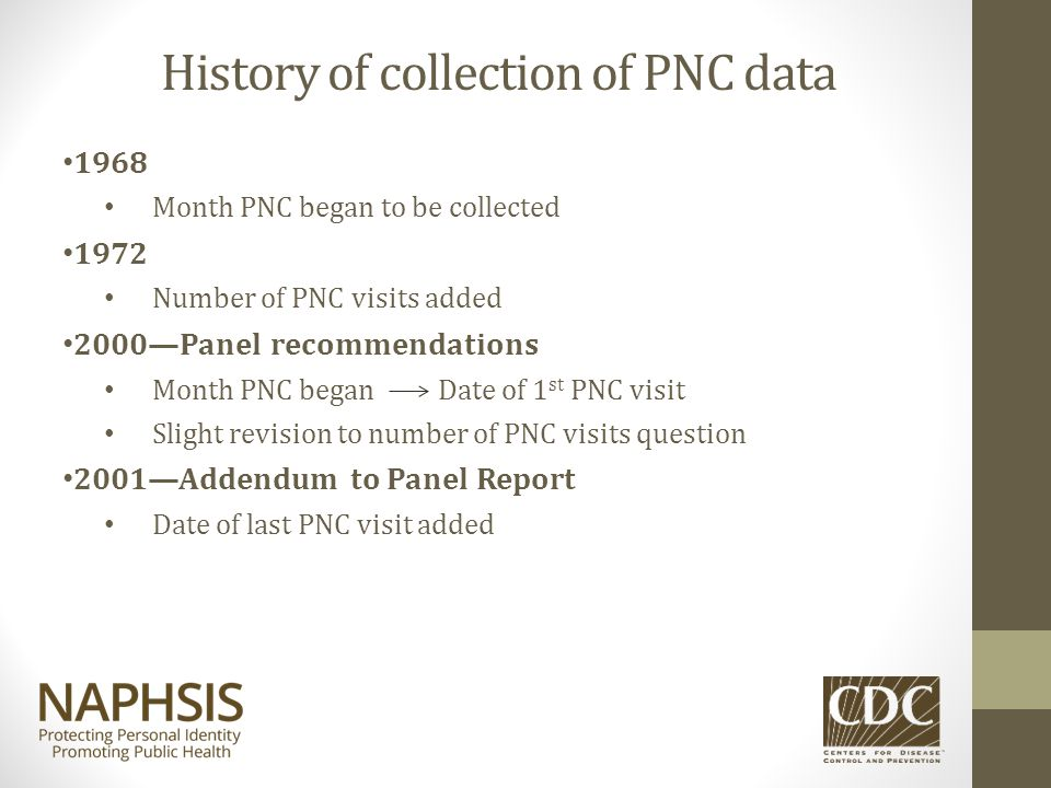 History of collection of PNC data 1968 Month PNC began to be collected 1972 Number of PNC visits added 2000—Panel recommendations Month PNC began Date