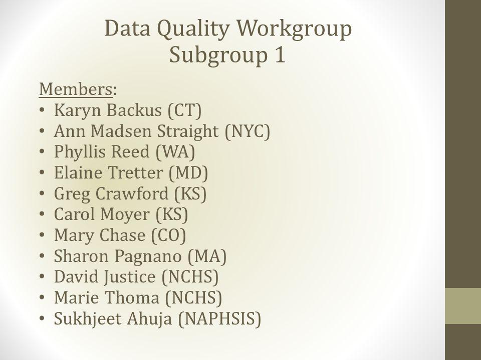 Data Quality Workgroup Subgroup 1 Members: Karyn Backus (CT) Ann Madsen Straight (NYC) Phyllis Reed (WA) Elaine Tretter (MD) Greg Crawford (KS) Carol Moyer (KS) Mary Chase (CO) Sharon Pagnano (MA) David Justice (NCHS) Marie Thoma (NCHS) Sukhjeet Ahuja (NAPHSIS)