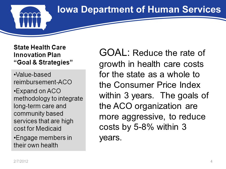 """State Health Care Innovation Plan """"Goal & Strategies"""" GOAL: Reduce the rate of growth in health care costs for the state as a whole to the Consumer Pr"""