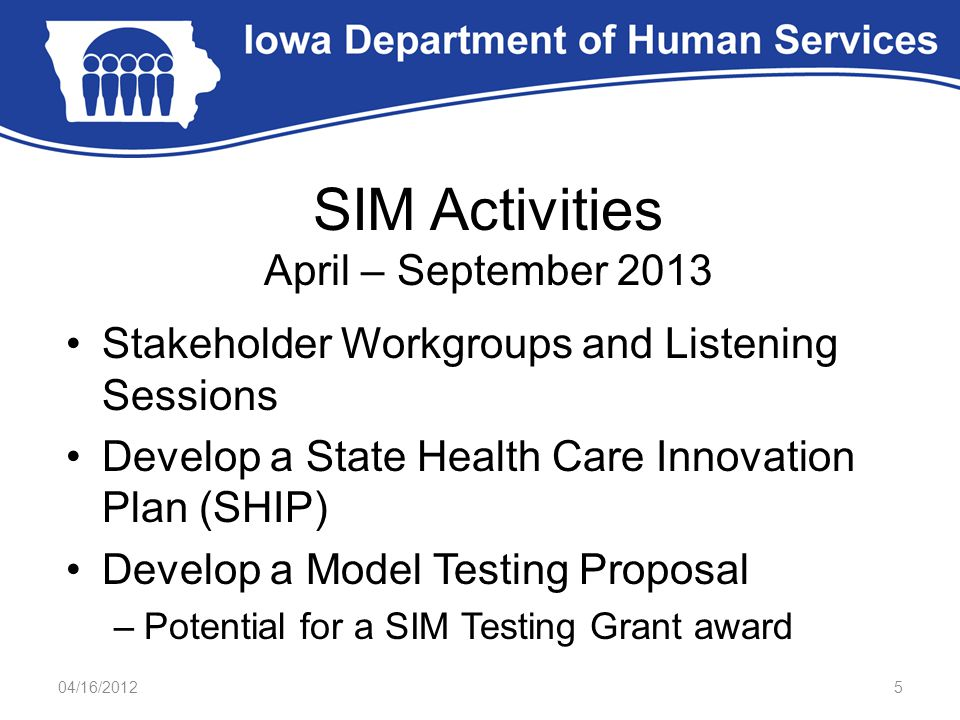SIM Activities April – September 2013 Stakeholder Workgroups and Listening Sessions Develop a State Health Care Innovation Plan (SHIP) Develop a Model