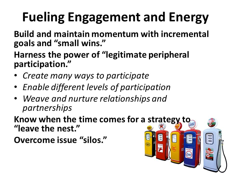 Fueling Engagement and Energy Build and maintain momentum with incremental goals and small wins. Harness the power of legitimate peripheral participation. Create many ways to participate Enable different levels of participation Weave and nurture relationships and partnerships Know when the time comes for a strategy to leave the nest. Overcome issue silos.