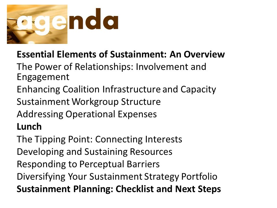 Essential Elements of Sustainment: An Overview The Power of Relationships: Involvement and Engagement Enhancing Coalition Infrastructure and Capacity Sustainment Workgroup Structure Addressing Operational Expenses Lunch The Tipping Point: Connecting Interests Developing and Sustaining Resources Responding to Perceptual Barriers Diversifying Your Sustainment Strategy Portfolio Sustainment Planning: Checklist and Next Steps