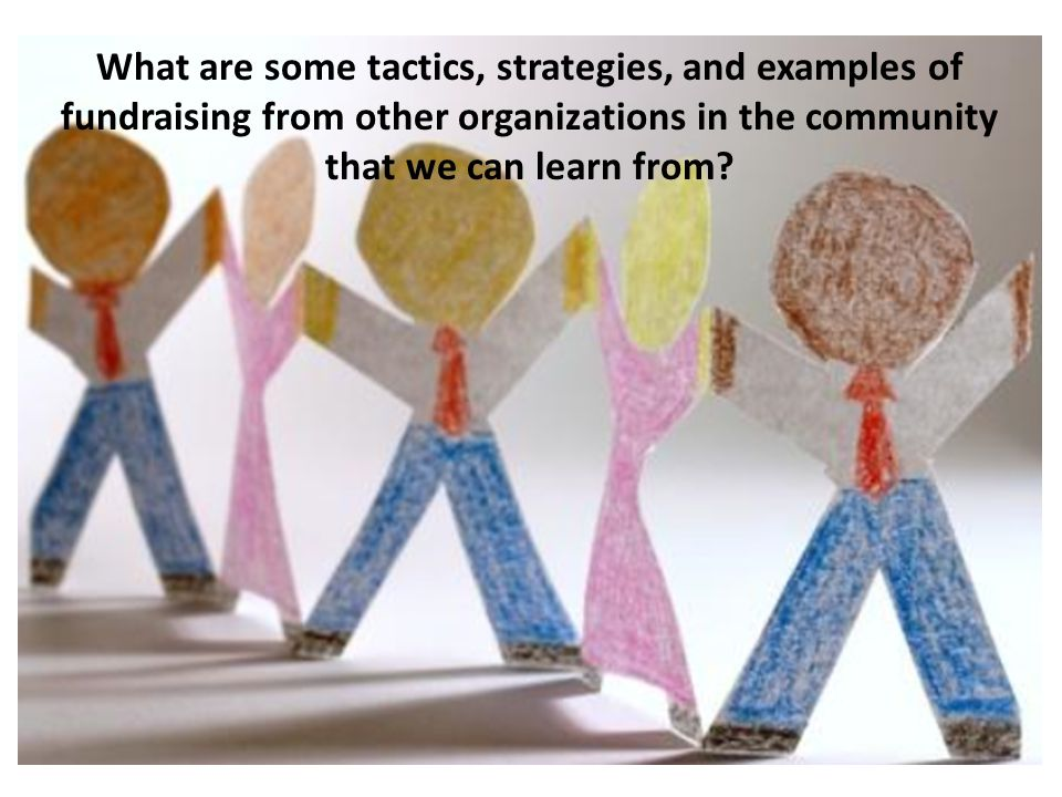 What are some tactics, strategies, and examples of fundraising from other organizations in the community that we can learn from