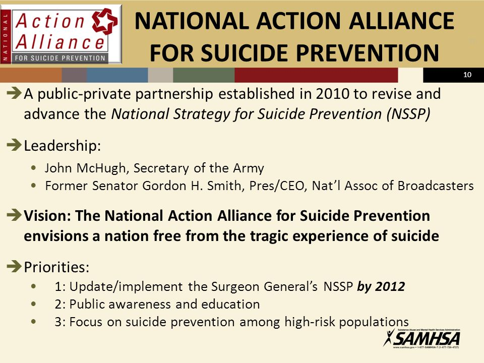 NATIONAL ACTION ALLIANCE FOR SUICIDE PREVENTION  A public-private partnership established in 2010 to revise and advance the National Strategy for Sui