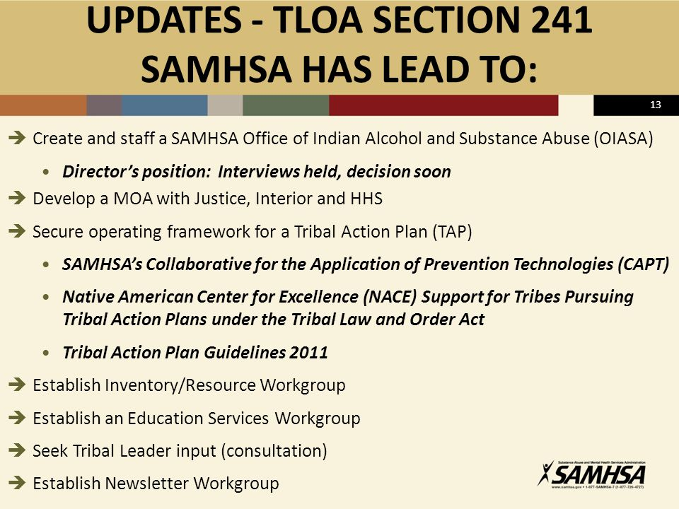 UPDATES - TLOA SECTION 241 SAMHSA HAS LEAD TO:  Create and staff a SAMHSA Office of Indian Alcohol and Substance Abuse (OIASA) Director's position: Interviews held, decision soon  Develop a MOA with Justice, Interior and HHS  Secure operating framework for a Tribal Action Plan (TAP) SAMHSA's Collaborative for the Application of Prevention Technologies (CAPT) Native American Center for Excellence (NACE) Support for Tribes Pursuing Tribal Action Plans under the Tribal Law and Order Act Tribal Action Plan Guidelines 2011  Establish Inventory/Resource Workgroup  Establish an Education Services Workgroup  Seek Tribal Leader input (consultation)  Establish Newsletter Workgroup 13