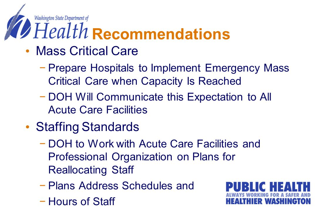 Recommendations Mass Critical Care −Prepare Hospitals to Implement Emergency Mass Critical Care when Capacity Is Reached −DOH Will Communicate this Ex