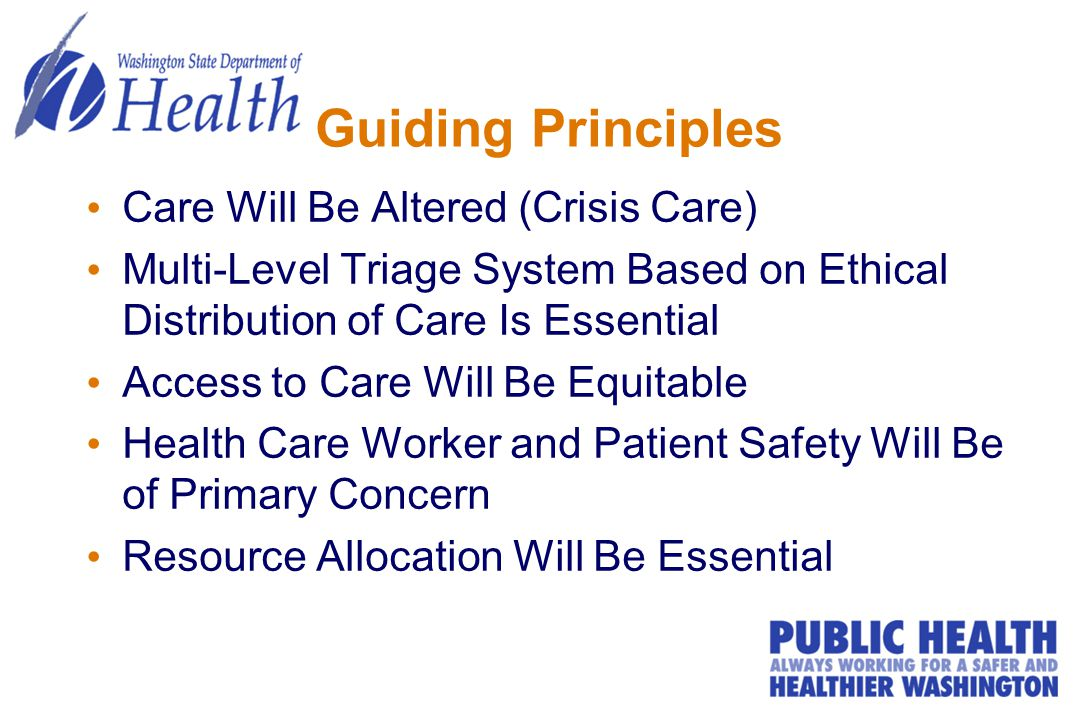 Guiding Principles Care Will Be Altered (Crisis Care) Multi-Level Triage System Based on Ethical Distribution of Care Is Essential Access to Care Will