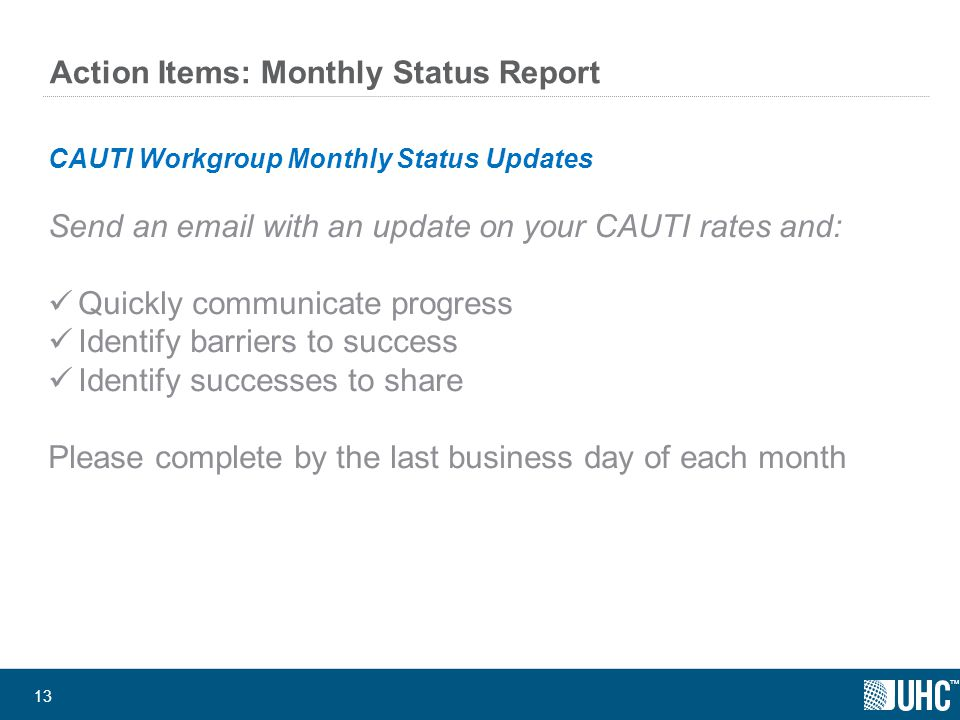 ™ 13 Action Items: Monthly Status Report CAUTI Workgroup Monthly Status Updates Send an email with an update on your CAUTI rates and: Quickly communicate progress Identify barriers to success Identify successes to share Please complete by the last business day of each month