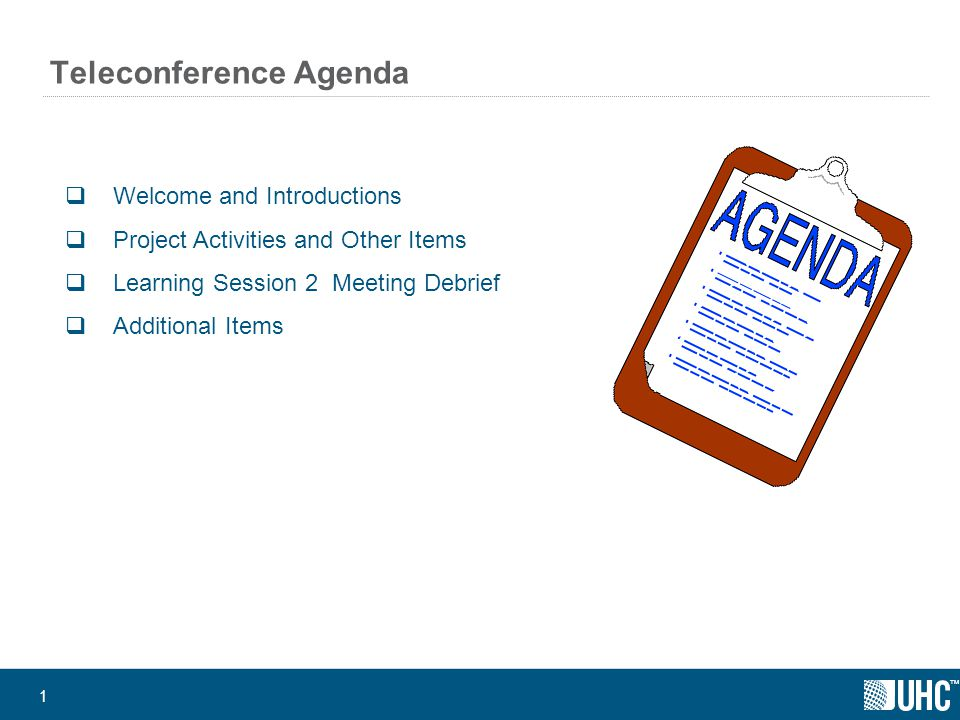 ™ Teleconference Agenda  Welcome and Introductions  Project Activities and Other Items  Learning Session 2 Meeting Debrief  Additional Items 1