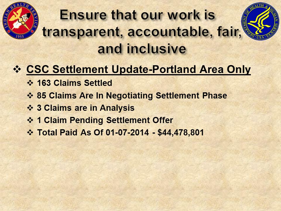  CSC Settlement Update-Portland Area Only  163 Claims Settled  85 Claims Are In Negotiating Settlement Phase  3 Claims are in Analysis  1 Claim Pending Settlement Offer  Total Paid As Of 01-07-2014 - $44,478,801