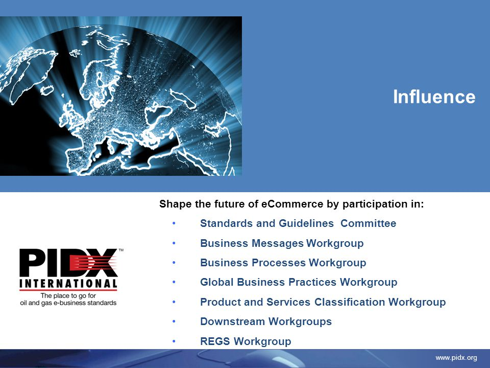 www.pidx.org Shape the future of eCommerce by participation in: Standards and Guidelines Committee Business Messages Workgroup Business Processes Work
