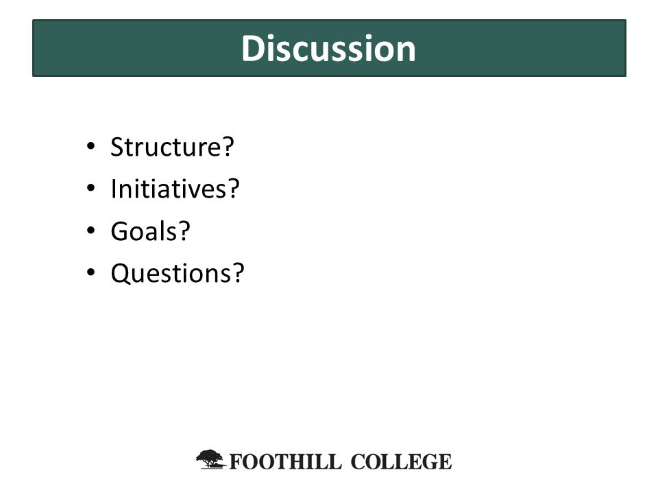 Structure? Initiatives? Goals? Questions? Discussion