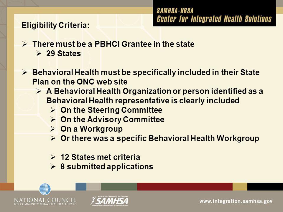 State# of HIT GranteesBehavioral Health Representative identified on Governance/Steering/Advisory Committee CA8Y FL6Y OH5Y IL3Y TX3Y OK2Y RI2Y CO1Y KY1Y ME1Y NH1Y UT1Y Applications Sent Out