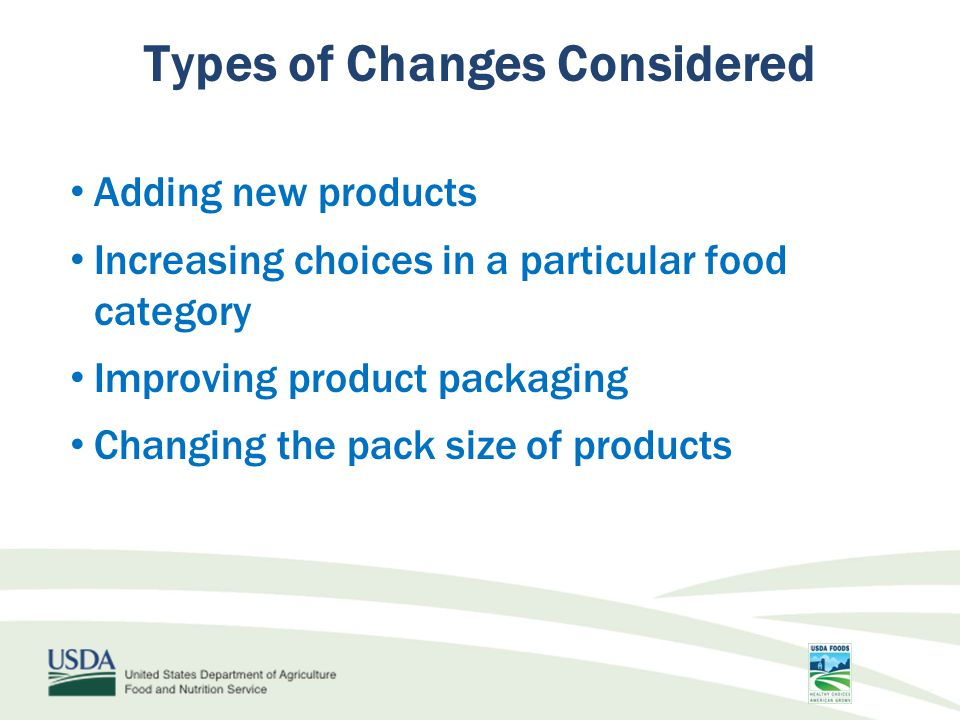 Adding new products Increasing choices in a particular food category Improving product packaging Changing the pack size of products Types of Changes Considered