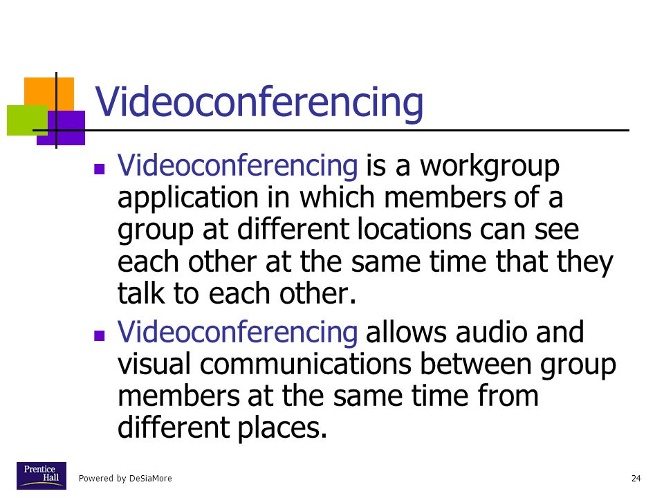 Powered by DeSiaMore24 Videoconferencing Videoconferencing is a workgroup application in which members of a group at different locations can see each