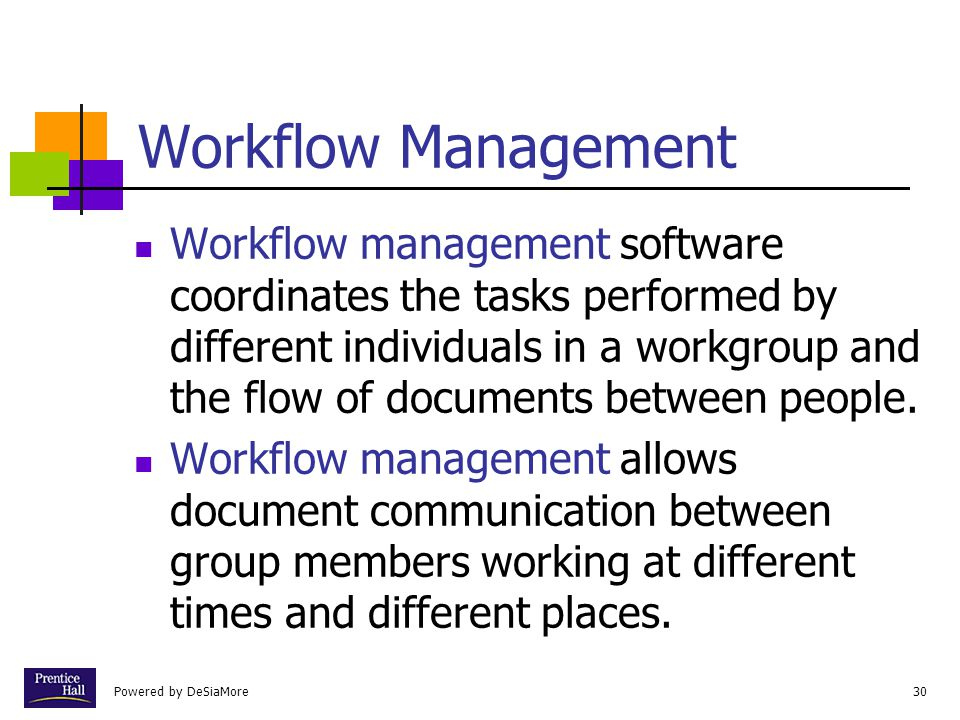 Powered by DeSiaMore30 Workflow Management Workflow management software coordinates the tasks performed by different individuals in a workgroup and th