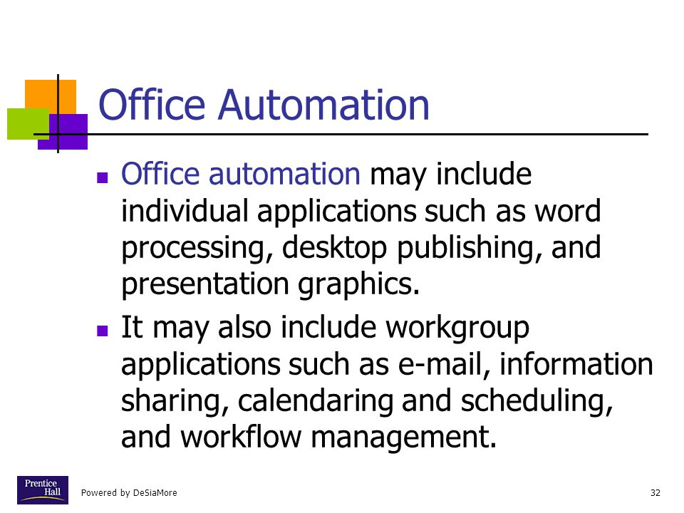 Powered by DeSiaMore32 Office Automation Office automation may include individual applications such as word processing, desktop publishing, and presen
