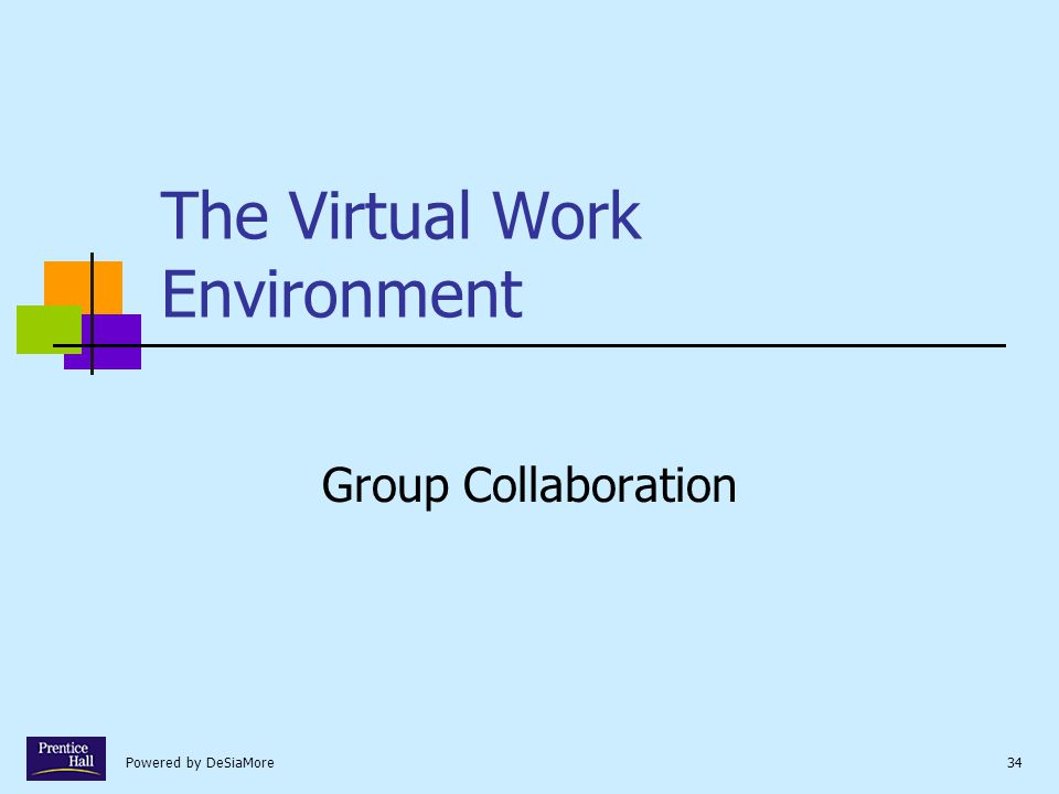Powered by DeSiaMore34 The Virtual Work Environment Group Collaboration