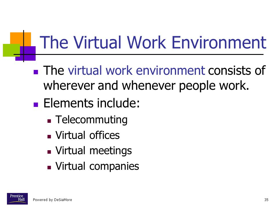 Powered by DeSiaMore35 The Virtual Work Environment The virtual work environment consists of wherever and whenever people work. Elements include: Tele