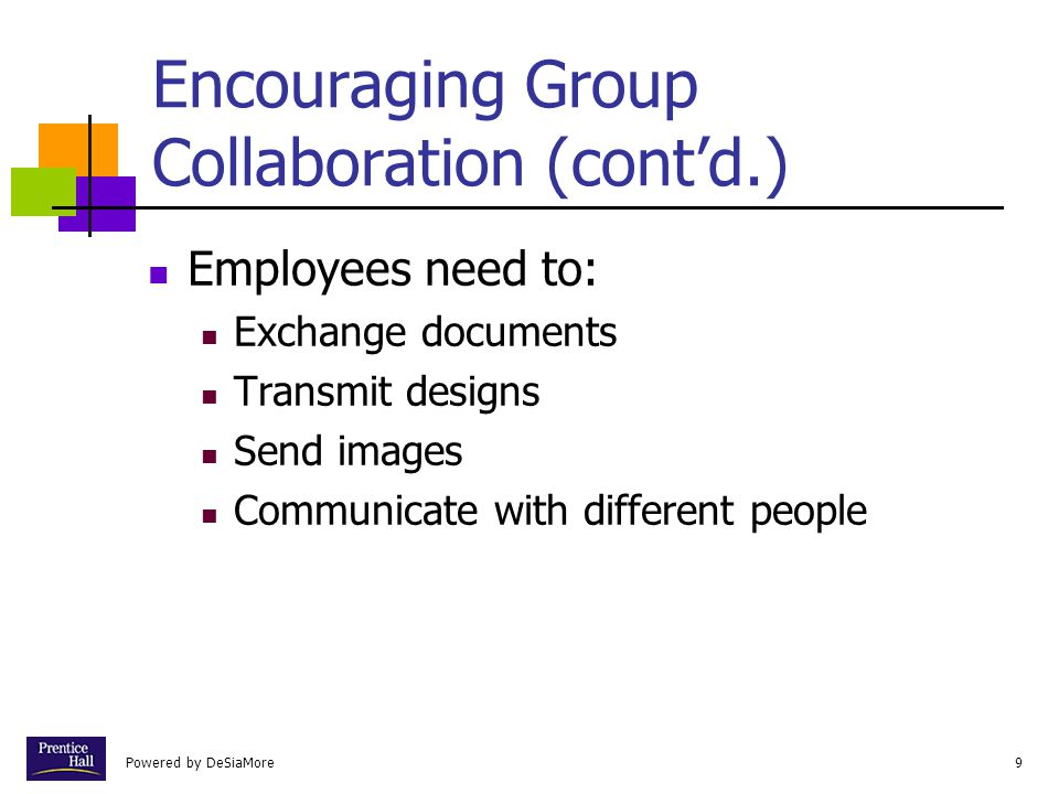 Powered by DeSiaMore10 Encouraging Group Collaboration (cont'd.) The principal difficulty with group collaboration is that group members often are not in the same place at the same time.